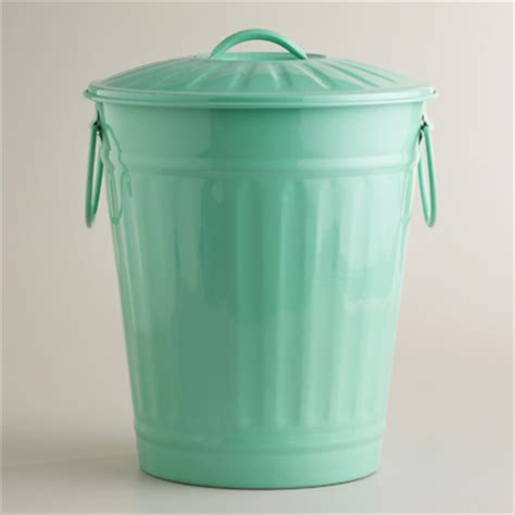 Turquoise Bathroom Trash Can Mint Retro Galvanized Trash Can Everything Turquoise