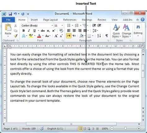 tutorialspoint word insert text in word 2010