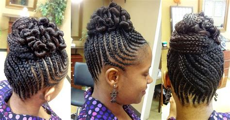 twisted bun hairstyle on american braided bun updo natural hair braid styles pinterest