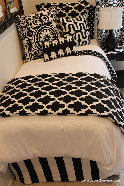 college bedding for black and white room bedding topdormbedding designer headboard custom pillows exclusive