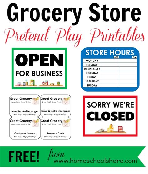 Play Store Themes Free | free grocery store pretend play printables from homeschool