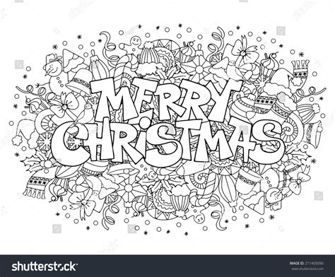 doodle merry merry lettering on festive doodle background
