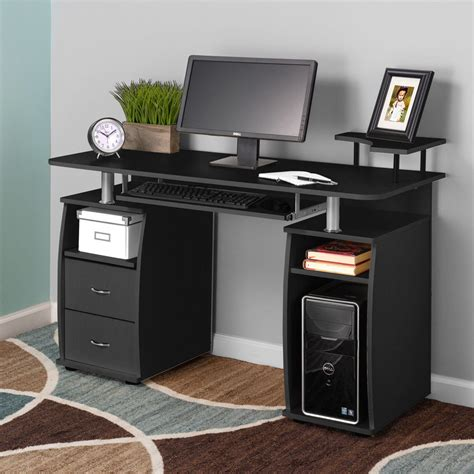 computer desk with monitor shelf computer pc desk work station office home raised monitor