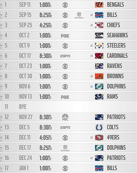 printable nfl monday night football schedule 2015 nfl releases regular season schedules