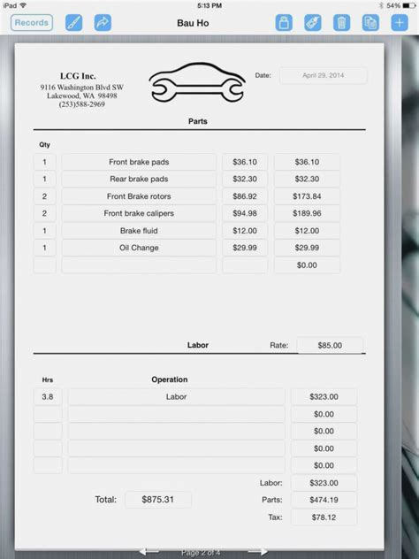 auto repair receipt template why you should not go to realty executives mi invoice