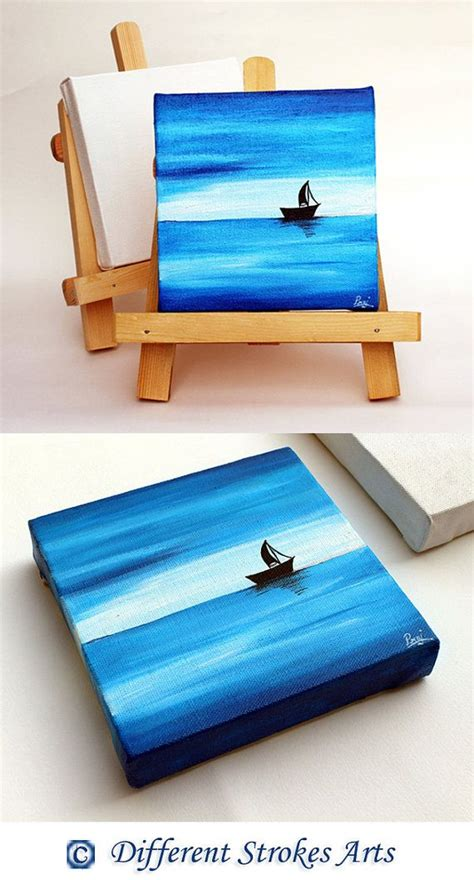 mini oil boat mini canvas painting with easel stand ocean painting