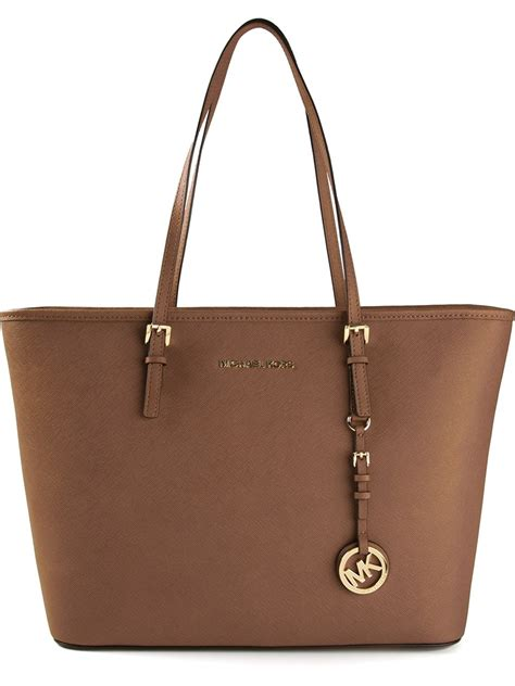 Mk New Tote Set 8880 michael michael kors jet set travel tote in brown lyst