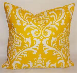 decorative pillows corn yellow white damask pillow by