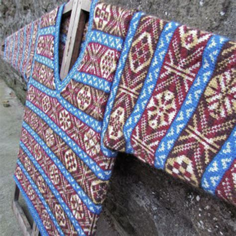 how to carry yarn in fair isle knitting kit fair isle v necked jumper jamieson and smith real