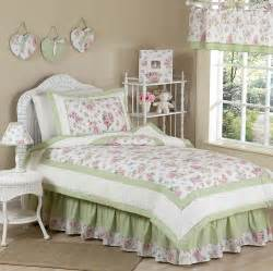 Rose print pink green floral bedding for girls 4pc twin comforter set