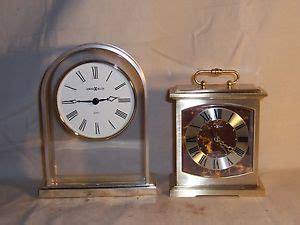2 vintage howard miller brass desk mantle clock quartz movement 1 w alarm ebay