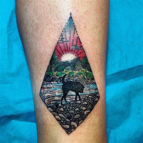 simple river tattoo elegant painted colored don on river shore tattoo on leg