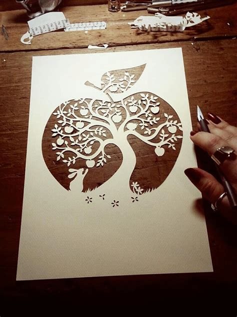 Papercraft For Beginners - papercut diy design template apple tree by