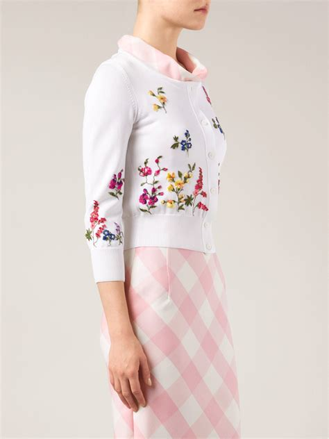 V Neck Floral Embroidered Cardigan lyst oscar de la renta floral embroidered cardigan in white