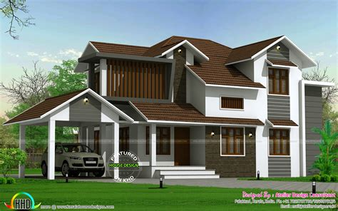 kerala style traditional sloping roof house traditional mix sloping roof home kerala home design and