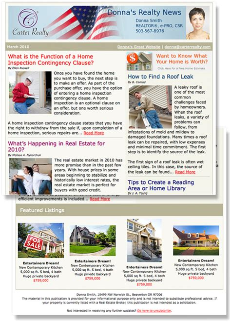 monthly email newsletter template real estate email newsletters and listing flyers