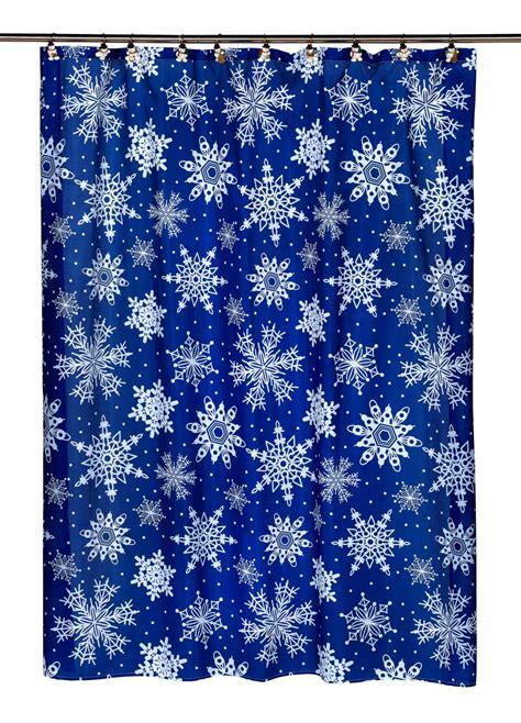 snowflake curtains christmas xmas snow flakes fabric shower curtain blue christmas bath