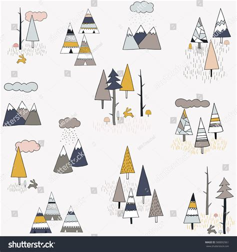cute mountain pattern forest mountains patterns baby clothes hand stock vector