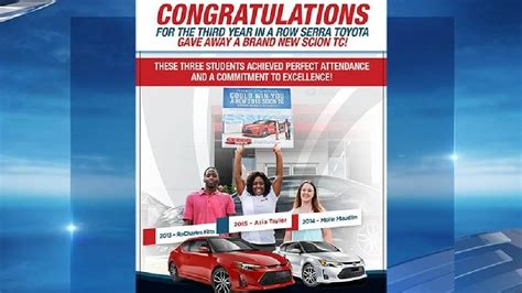 Perfect Attendance Car Giveaway - clay chalkville high senior wins new car at serra toyota s perfect attendance giveaway