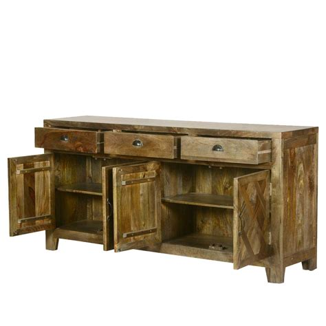 parquet farmhouse mango wood rustic sideboard buffet cabinet