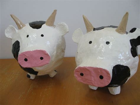 How To Make A Paper Mache Cow - 2012 cow paper mache piggy banks c