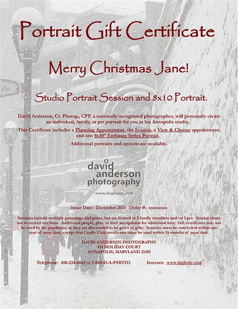 Gift Certificates Annapolis Certified Professional Photographer Gift Certificate For Photography Session Templates