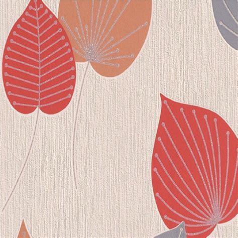 rasch wallpaper rasch vermont leaf wallpaper 308235 red orange i want