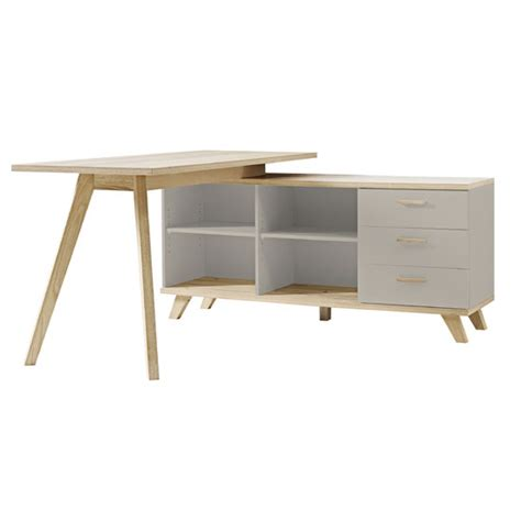 Grey Corner Desk Bowen Rotating Corner Computer Desk In Grey And Oak