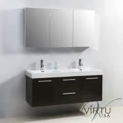 Vanity Sink Midori 54 Inch Double Sink Bathroom Vanity In Wenge By