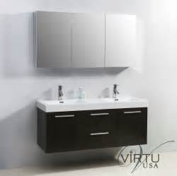 Midori 54 inch double sink bathroom vanity in wenge by