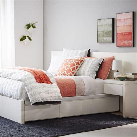 White Platform Bed Frame by Storage Platform Bed Frame White West Elm