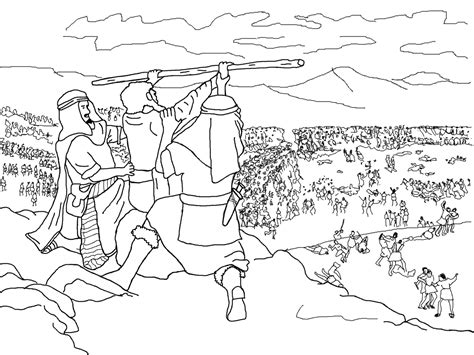coloring pages for joshua and the battle of jericho moses hur and aaron joshua fighting the battle at