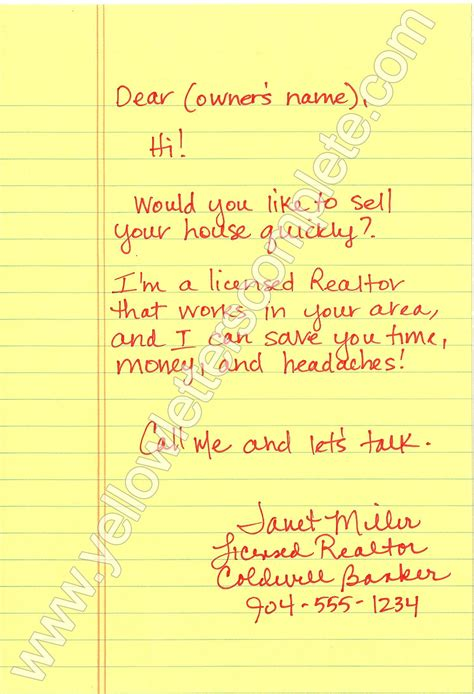 yellow letter templates real estate contract real