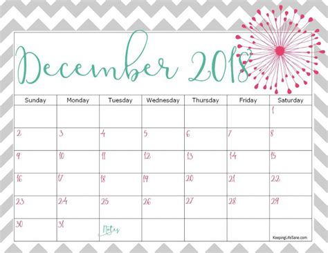 printable calendar 2018 girly free 2018 calendar to print keeping life sane