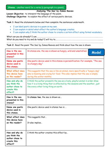 the sea by james reeves themes a differentiated poetry lesson analysing the sea by