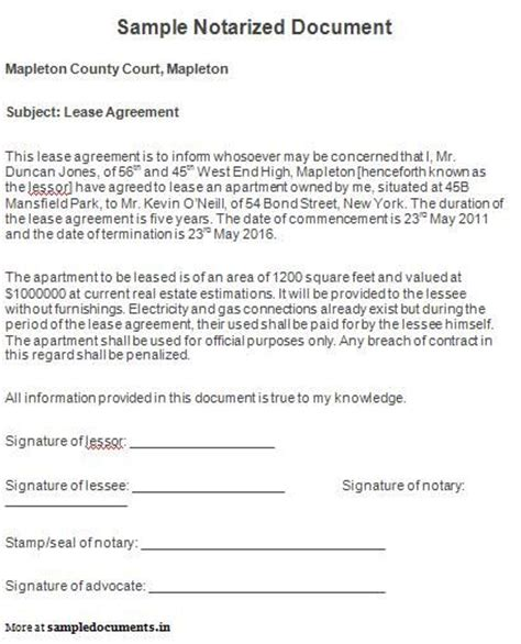 Notarized Letter Of Agreement Sle Notarized Document Notarized Documents