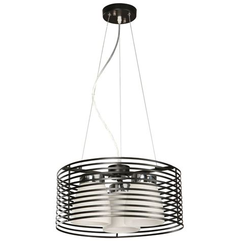 hton bay aranga 3 light matte black drum pendant 03271