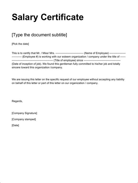 employment certification letter doc salary certificate templates free premium