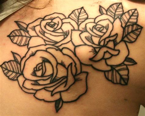 roses outline tattoo 69 graceful roses shoulder tattoos