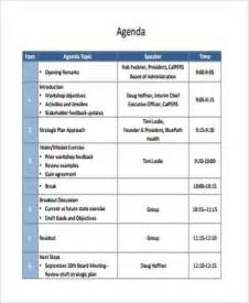 workshop agenda template 9 workshop agenda exles free sle exle format