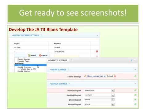 build joomla template with ja t3 framwork 2 0