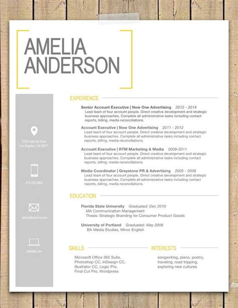 Creative Cover Letter And Resume Templates Resume Template The Quot Quot Modern Resume Template Instant Ms Word Resume