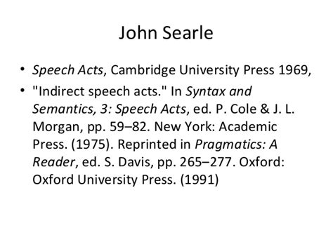 Searle 1969 Speech Acts An Essay In The Philosophy Of Language by Rzeszov Pragmatics