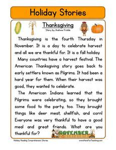 thanksgiving comprehension printables reading comprehension worksheet thanksgiving