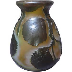 legras cameo glass vase with leaf motif from