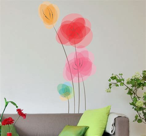 colorful wall stickers colourful poppies wall sticker tenstickers