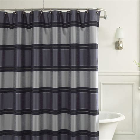 bed bath and beyond blue curtains jardin stripe 72 quot x 72 quot fabric shower curtain blue bed