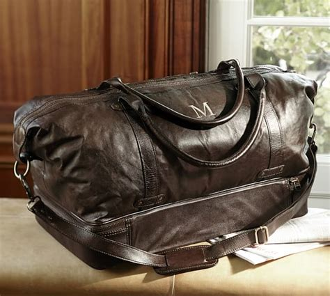 pottery barn leather saddle leather weekender bag pottery barn