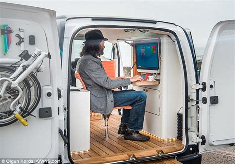 Lu Led Mobil Datsun nissan unveils a mobile office in a with touch screen computer and coffee machine daily