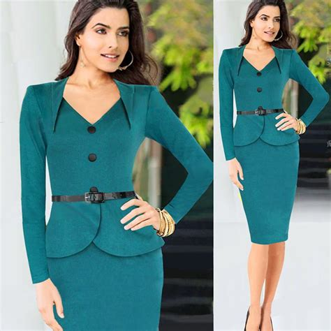Nicely Dress X S M L 2019 sleeve work dress green 2015 autumn